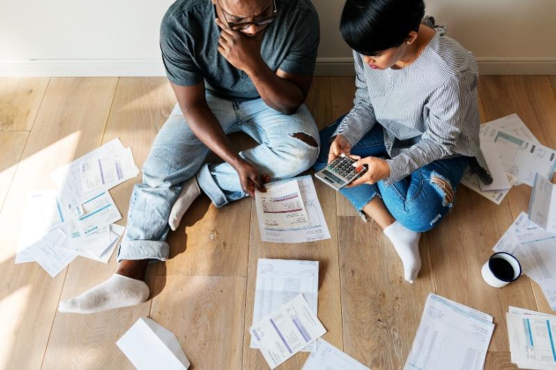 Couple managing their debt