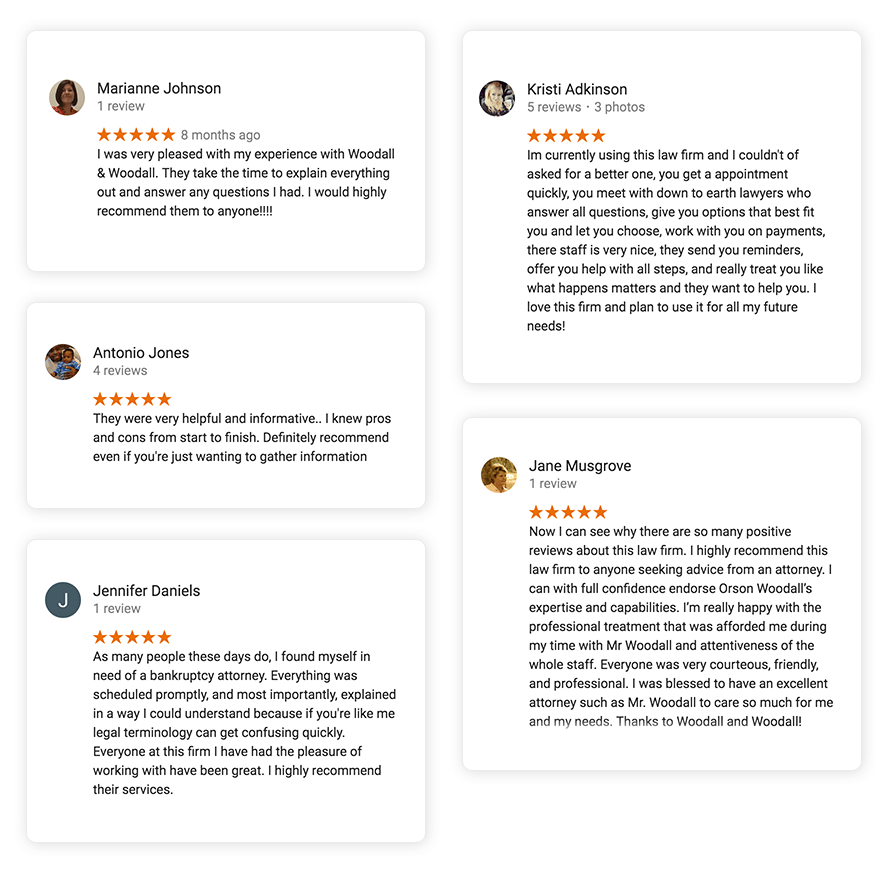 Multiple 5 star reviews for Woodall & Woodall